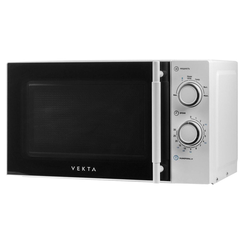 Микроволновая печь VEKTA MS720ATW, объем 20 л, мощность 700 Вт, механическое уравление, таймер, белая