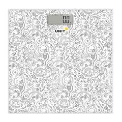 Весы напольные UNIT UBS-2052, электронные, вес до 150 кг, квадратные, стекло, светло-серые