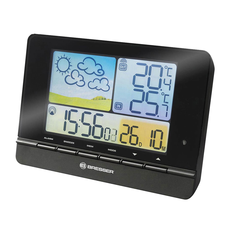 Метеостанция BRESSER MeteoTrend Colour, термодатчик, гигрометр, часы, будильник, черный, 71135