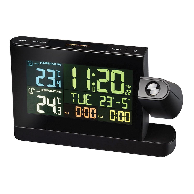 Метеостанция BRESSER, проекционная, термодатчик, часы, будильник, календарь, черный, 73277