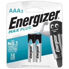 Батарейки КОМПЛЕКТ 2 шт., ENERGIZER Max Plus, AAA (LR03, 24А), алкалиновые, мизинчиковые, блистер