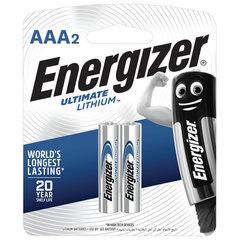 Батарейки КОМПЛЕКТ 2 шт., ENERGIZER Ultimate Lithium, AAA (FR03, 24А), литиевые, мизинчиковые, блистер