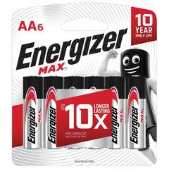 Батарейки КОМПЛЕКТ 6 шт., ENERGIZER Max, AA (LR06,15А), алкалиновые, пальчиковые, блистер