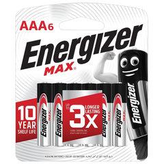 Батарейки КОМПЛЕКТ 6 шт., ENERGIZER Max, AAA (LR03, 24А), алкалиновые, мизинчиковые, блистер