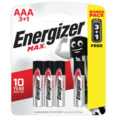 Батарейки КОМПЛЕКТ 4 шт., ENERGIZER Max, ПРОМО 3+1, AAA (LR03, 24А), алкалиновые, мизинчиковые, блистер