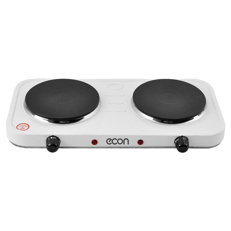 Плитка электрическая ECON ECO-231HP, мощность 2000 Вт, 2 конфорки, металл, белая