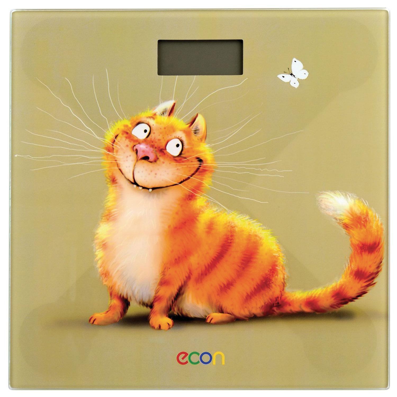Весы напольные ECON ECO-BS002, электронные, вес до 150 кг, квадратные, стекло, с рисунком