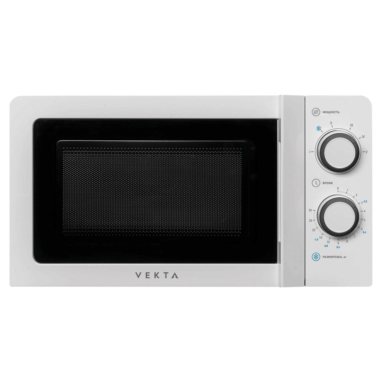 Микроволновая печь VEKTA MS720CHW, объем 20 л, мощность 700 Вт, механическое управление, таймер, белая
