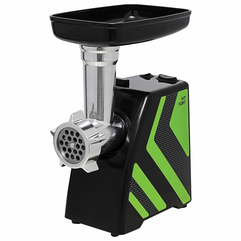 Мясорубка KITFORT КТ-2101-2, 1500 Вт, производительность 1,2 кг/мин, реверс, 2 насадки, пластик, зеленая