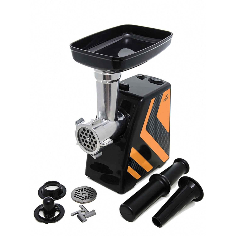 Мясорубка KITFORT КТ-2101-3, 1500 Вт, производительность 1,2 кг/мин, реверс, 2 насадки, пластик, оранжевая