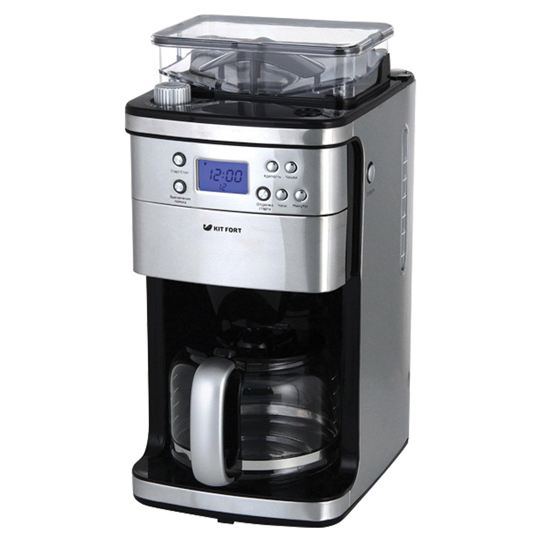 Кофеварка капельная KITFORT КТ-705, 1050 Вт, объем 1,5 л, емкость для зерен 200 г, кофемолка, серебристая