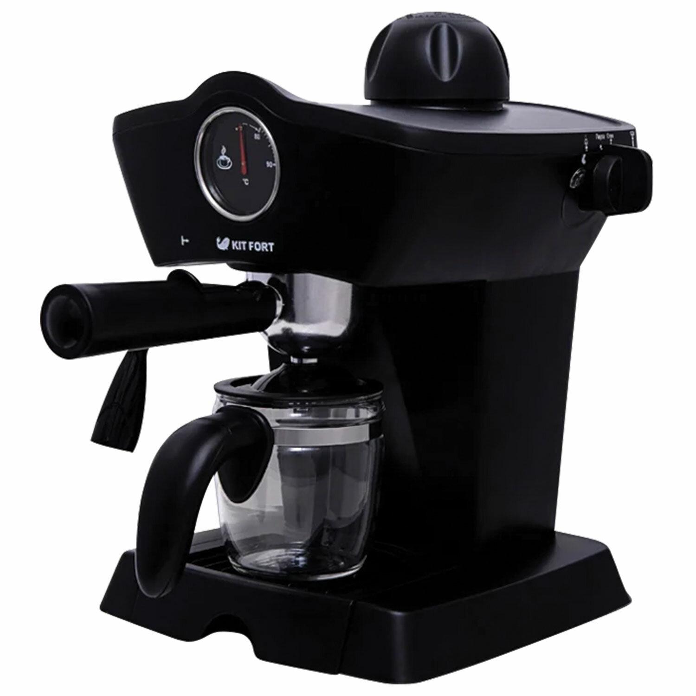 Кофеварка рожковая KITFORT КТ-706, 800 Вт, объем 0,8 л, 3,5 бар, ручной капучинатор, черная