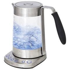 Чайник KITFORT КТ-601, 1,7 л, 2500 Вт, закрытый нагревательный элемент, 4 режима нагрева, стекло, серебистый