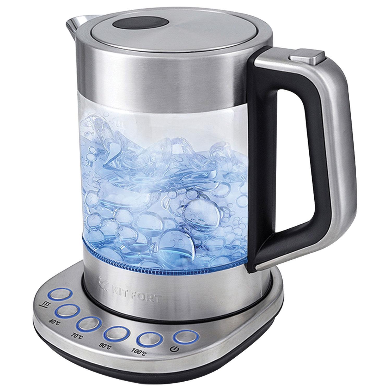 Чайник KITFORT КТ-616, 1,5 л, 2200 Вт, закрытый нагревательный элемент, ТЕРМОРЕГУЛЯТОР, стекло, серебристый