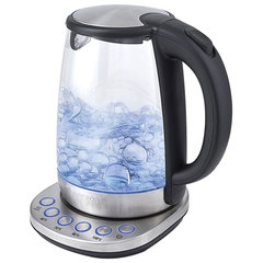 Чайник KITFORT КТ-618, 1,7 л, 2200 Вт, закрытый нагревательный элемент, 4 режима нагрева, стекло, серебристый