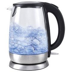 Чайник KITFORT КТ-619, 1,7 л, 2200 Вт, закрытый нагревательный элемент, стекло, серебристый