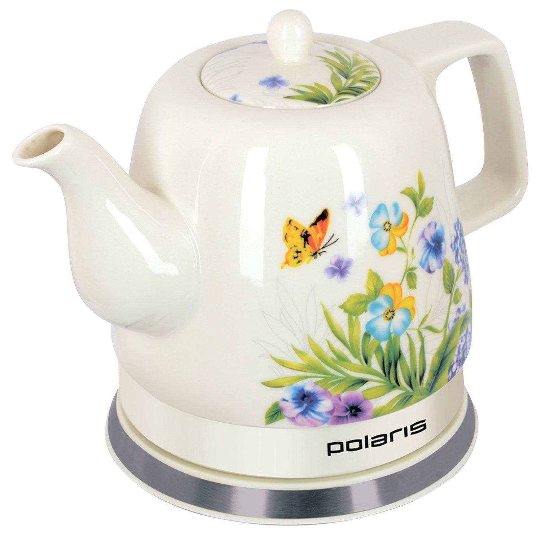 """Чайник POLARIS PWK 1283CCR """"Весна"""", 1,2 л, 1200 Вт, закрытый нагревательный элемент, керамика, белый"""