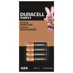 Батарейки КОМПЛЕКТ 4 шт. (отрывной блок), DURACELL Simply, ААА (LR03, 24А), алкалиновые, мизинчиковые