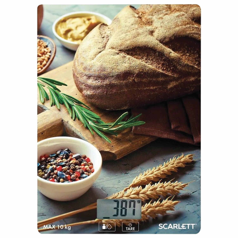 "Весы кухонные SCARLETT SC-KS57P65 ""Хлеб"", электронный дисплей, max вес 10 кг, тарокомпенсация, стекло"