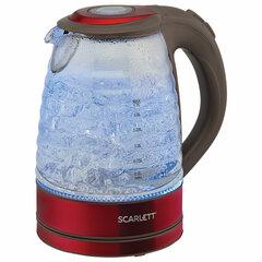 Чайник SCARLETT SC-EK27G62, 1,7 л, 2200 Вт, закрытый нагревательный элемент, стекло, красный