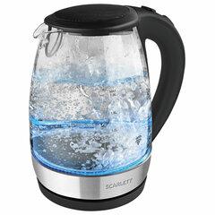 Чайник SCARLETT SC-EK27G89, 1,7 л, 2200 Вт, закрытый нагревательный элемент, стекло, черный