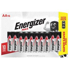Батарейки КОМПЛЕКТ 16 шт., ENERGIZER Max, AA (LR06,15А), алкалиновые, пальчиковые