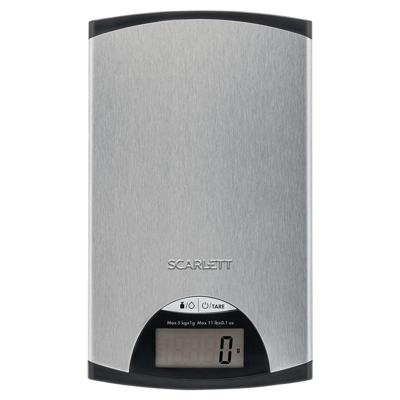 Весы кухонные SCARLETT SC-KS57P97, электронный дисплей, max вес 5 кг, тарокомпенсация, сталь, серые