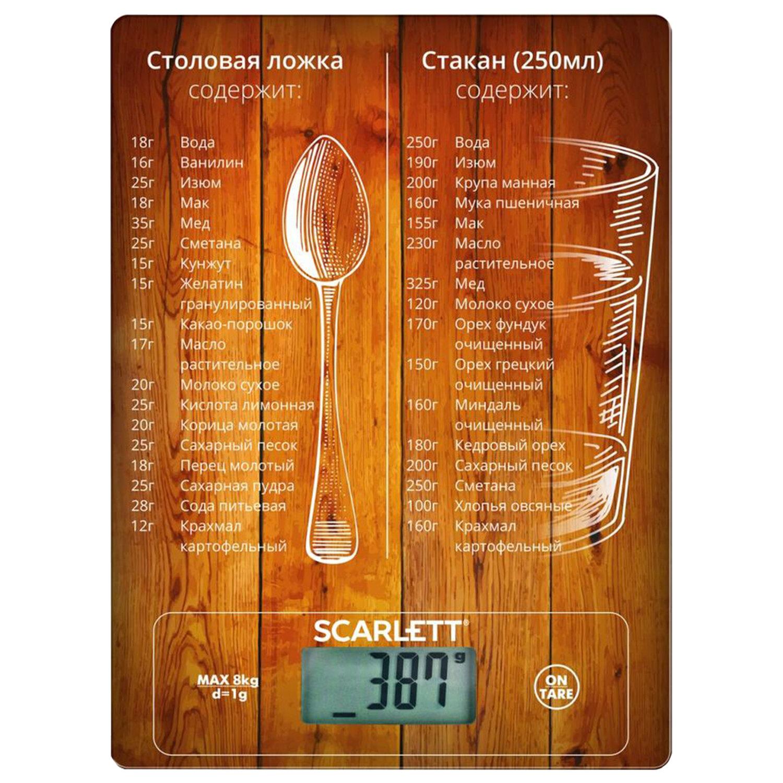 Весы кухонные SCARLETT SC-KS57P19, электронный дисплей, максимальный вес 8 кг, тарокомпенсация, стекло