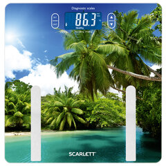 """Весы напольные диагностические SCARLETT SC-BS33ED12 """"Пальмы"""", электронные, вес до 180 кг, стекло"""