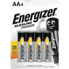 Батарейки КОМПЛЕКТ 4 шт., ENERGIZER Alkaline Power, AA (LR06, 15А), алкалиновые, пальчиковые, блистер