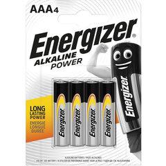 Батарейки КОМПЛЕКТ 4 шт., ENERGIZER Alkaline Power, AAA (LR03, 24А), алкалиновые, мизинчиковые, блистер