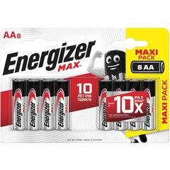 Батарейки КОМПЛЕКТ 8 шт., ENERGIZER Max, AA (LR06, 15А), алкалиновые, пальчиковые, блистер