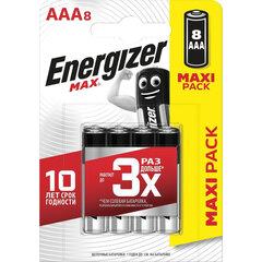 Батарейки КОМПЛЕКТ 8 шт., ENERGIZER Max, AAA (LR03, 24А), алкалиновые, мизинчиковые, блистер