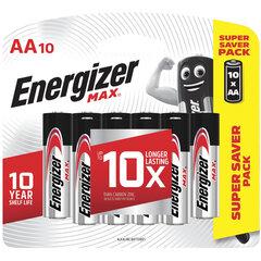 Батарейки КОМПЛЕКТ 10 шт., ENERGIZER Max, AA (LR06, 15А), алкалиновые, пальчиковые, блистер