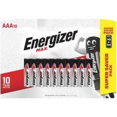 Батарейки КОМПЛЕКТ 10 шт., ENERGIZER Max, AAA (LR03, 24А), алкалиновые, мизинчиковые, блистер