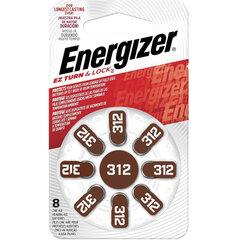 Батарейки для слуховых аппаратов КОМПЛЕКТ 8 шт., ENERGIZER Zinc Air 312, блистер