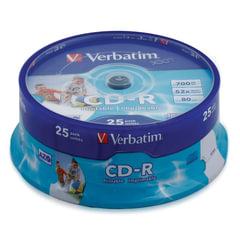 Диски CD-R VERBATIM 700 MB 52x Printable, КОМПЛЕКТ 25 шт., Cake Box, с поверхностью для печати