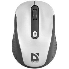 Мышь беспроводная DEFENDER Optimum MS-125, 3 кнопки + 1 колесо-кнопка, лазерная, серебристо-черная, 52125