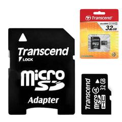 Карта памяти micro SDHC, 32 GB, TRANSCEND, 4 Мб/сек. (class 4), с адаптером, TS32GUSDHC4