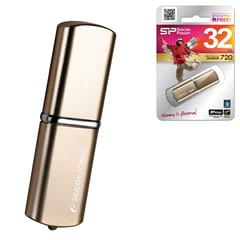 Флеш-диск 32 GB, SILICON POWER LuxMini 720, USB 2.0, металлический корпус, бронзовый, SP32GBUF2720V1Z