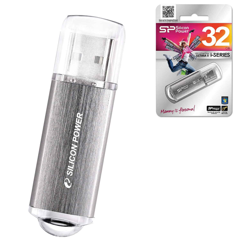 Флеш-диск 32 GB, SILICON POWER Ultima II-I Series, USB2.0, металлический корпус, серебристый, SP32GBUF2M01V1S