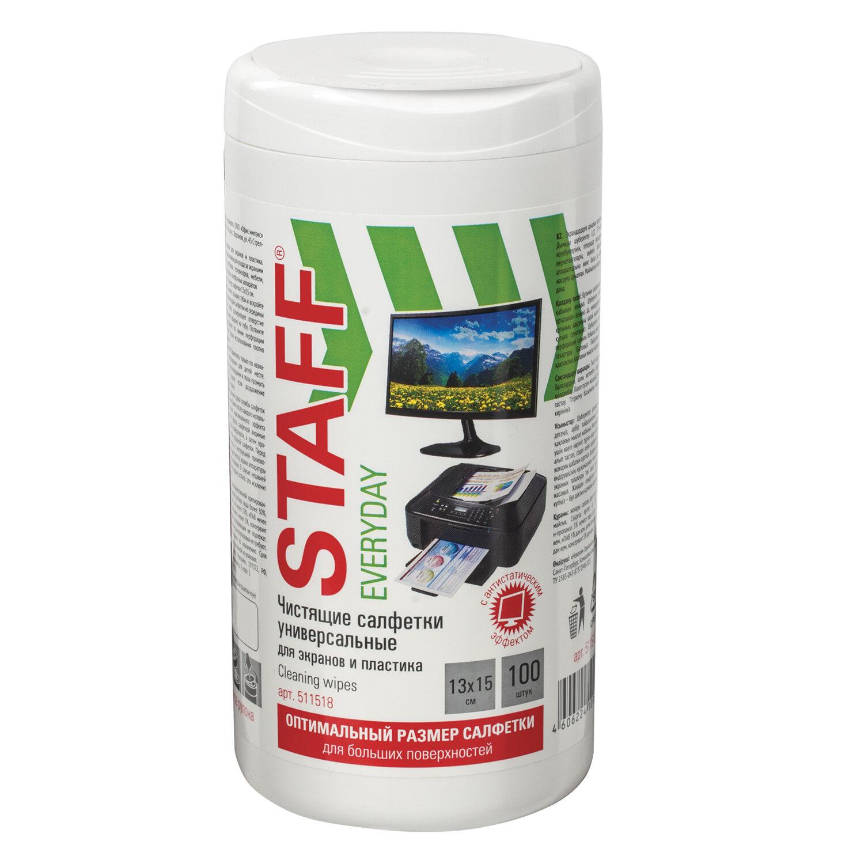 """Салфетки для экранов всех типов и пластика универсальные STAFF """"EVERYDAY"""", 13х15 см, туба 100 шт., влажные, 511518"""