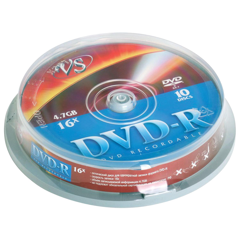 Диски DVD-R VS 4,7 Gb, КОМПЛЕКТ 10 шт., Cake Box, VSDVDRCB1001