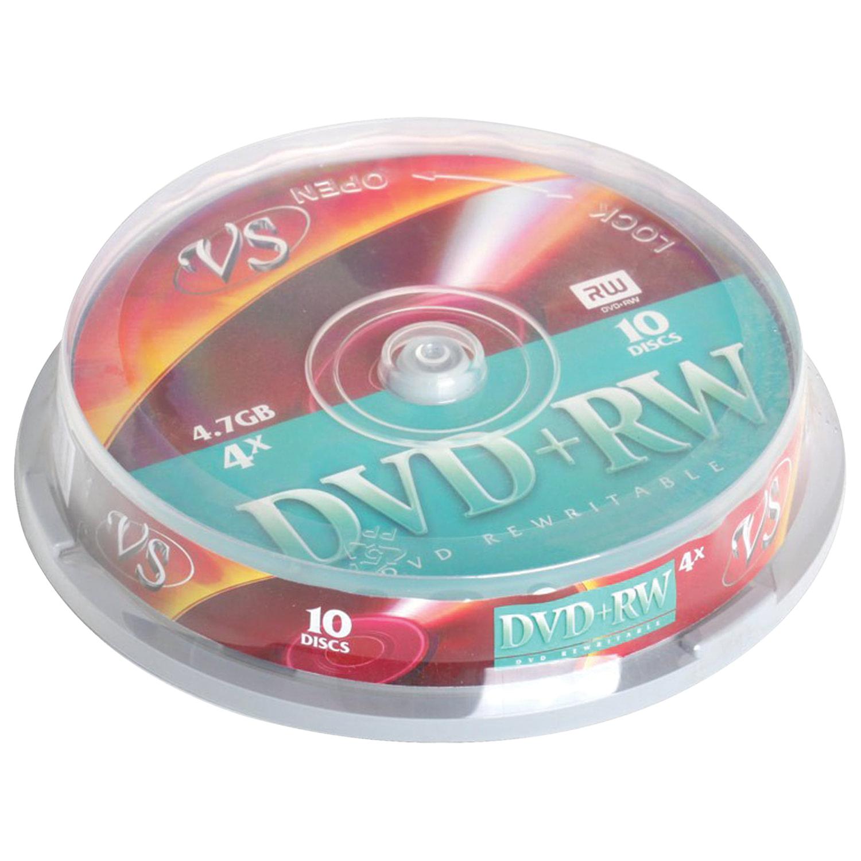 Диски DVD + RW VS 4,7 Gb 4x, КОМПЛЕКТ 10 шт., Cake Box, VSDVDPRWCB1001