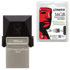 Флэш-диск 16 GB, KINGSTON DT MicroDuo OTG, USB 3.0, черный