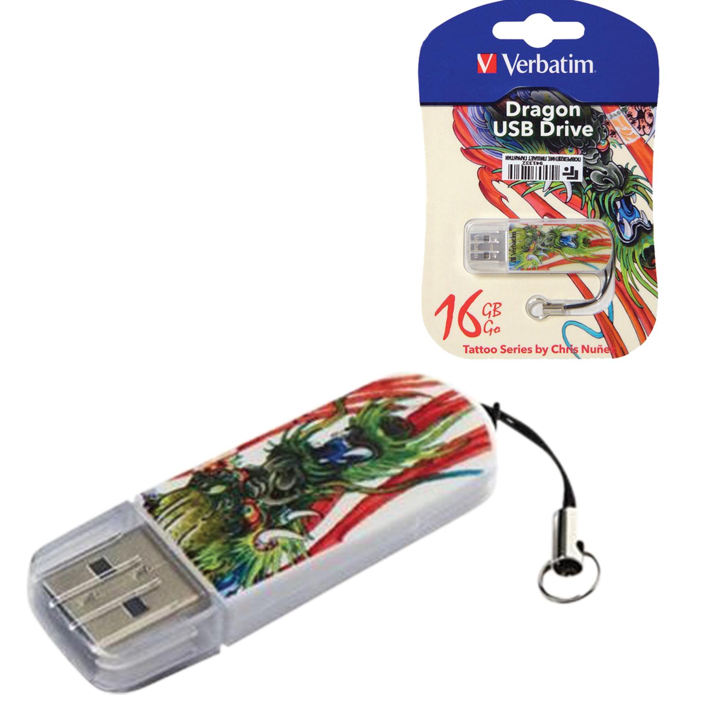 Флеш-диск 16 GB, VERBATIM Mini Tattoo Edition Dragon, USB 2.0, белый с рисунком, 49888