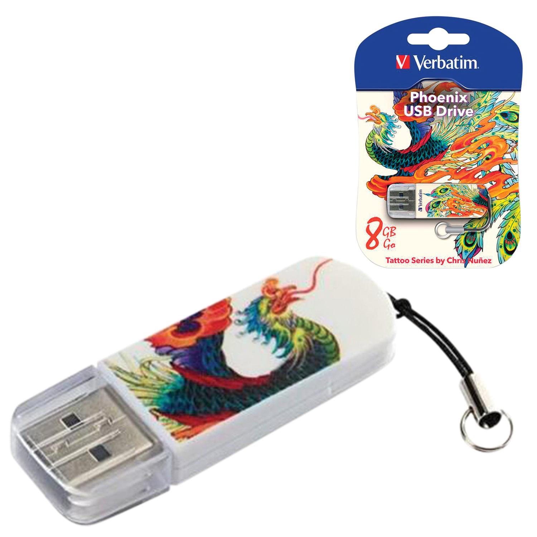 Флеш-диск 8 GB, VERBATIM Mini Tattoo Edition Phoenix, USB 2.0, белый с рисунком, 49883