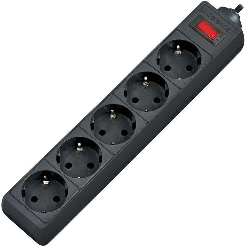 Сетевой фильтр DEFENDER ES, 5 розеток, 5 м, черный, 99486