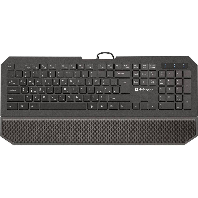 Клавиатура проводная DEFENDER Oscar SM-600 Pro, USB, 104 клавиши + 12 дополнительных клавиш, мультимедийная, черная, 45602