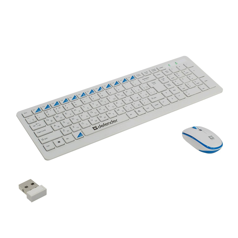 Набор беспроводной DEFENDER Skyline 895, клавиатура, мышь 3 кнопки + 1 колесо-кнопка, белый, 45895